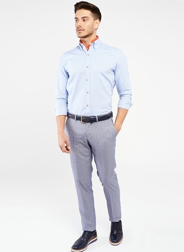 Altınyıldız Classics Kareli Kumaş Pantolon Mavi